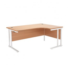 Starter Radial Right-Hand Cantilever Desk 1600mm Beech with White Legs