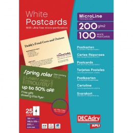 Decadry Microperforated Postcards White