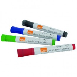 Nobo Glass Whiteboard Markers Assorted [Pack of 4]