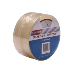 GoSecure Twin Pack Clear Tape 25mmx6m [Pack of 6]
