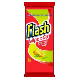 Flash Wipe and Go Lemon Wipes [Pack of 6x48]