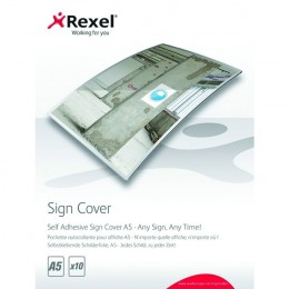 Rexel Self Adhesive Sign Cover A5 [Pack of 10]