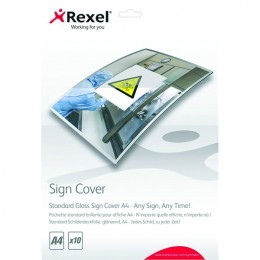 Rexel Standard Gloss Sign Cover A4 [Pack of 10]