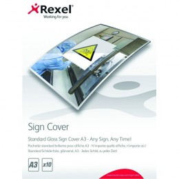 Rexel Standard Gloss Sign Cover A3 [Pack of 10]