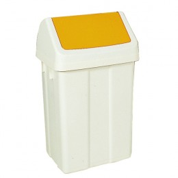 50 Litre Swing Bin White and Yellow