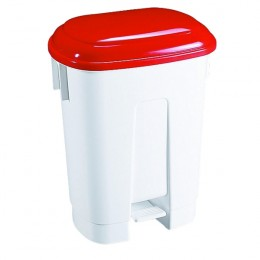 30 Litre Plastic Bin White and Red
