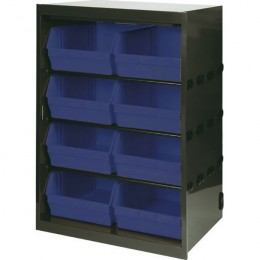 Cabinet 8 Polypropylene Bins Grey and Blue