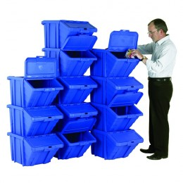 Heavy Duty Storage Bin with Lid Blue [Pack of 12]