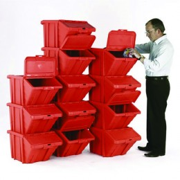Heavy Duty Storage Bin and Lid Red [Pack of 12]