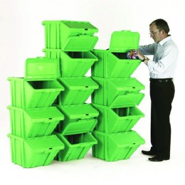 Heavy Duty Storage Bin and Lid Green [Pack of 12]