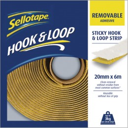 Sellotape Hook and Loop Strip 20mmx6m Removable