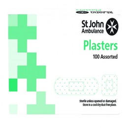St John Ambulance Detectable Plasters Blue Assorted Sizes [Pack of 100]