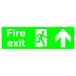 Safety Sign:Fire Exit Up 150x450mm PVC