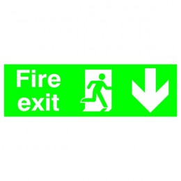 Safety Sign:Fire Exit Down 150x450mm PVC