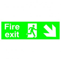 Safety Sign:Fire Exit Right and Down 150x450mm PVC