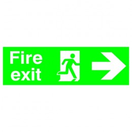 Safety Sign:Fire Exit Right 150x450mm PVC