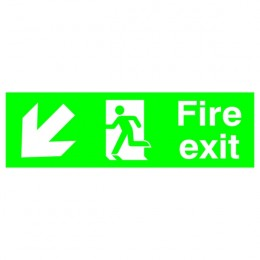 Safety Sign:Fire Exit Left and Down 150x450mm PVC
