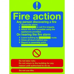 Photoluminescent Sign:Fire Action 300x250mm Self Adhesive
