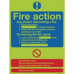 Photoluminescent Sign:Fire Action 300x250mm PVC
