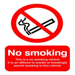 No Smoking Sign:No Smoking Vehicle 100x75mm Self Adhesive