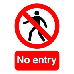 Prohibition Sign:No Entry A5 Self Adhesive