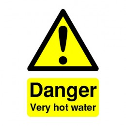 Warning Sign:Danger Very Hot Water 70x50mm Self Adhesive