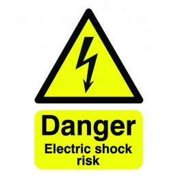 Warning Sign:Danger Electric Shock Risk A5 Self Adhesive