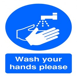 Mandatory Sign:Wash Your Hands Please A5 PVC