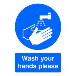 Mandatory Sign:Wash Your Hands Please A5 Self Adhesive