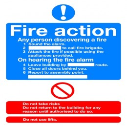 Mandatory Sign:Fire Action A5 PVC