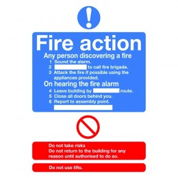 Mandatory Sign:Fire Action A5 Self Adhesive