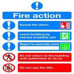 Mandatory Sign:Fire Action Step by Step A5 PVC