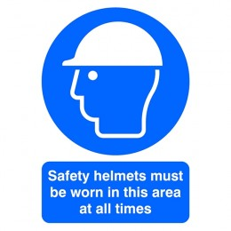 Mandatory Sign:Safety Helmets Must be Worn A4 PVC
