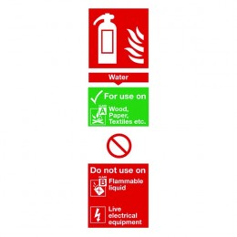 Fire Sign:Water Extinguisher Information 280x90mm Self Adhesive