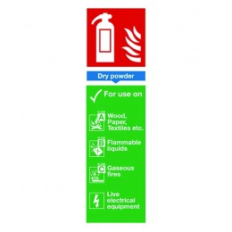 Fire Sign:Dry Powder Extinguisher Information 280x90mm Self Adhesive