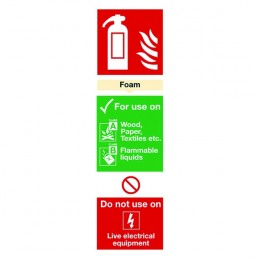 Fire Sign:Foam Extinguisher Information 280x90mm Self Adhesive