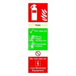 Fire Sign:Foam Extinguisher Information 280x90mm PVC