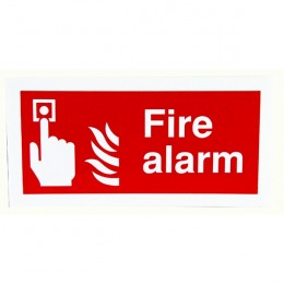 Fire Sign:Fire Alarm 100x200mm Self Adhesive