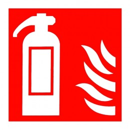 Fire Sign:Fire Extinguisher Location Symbol 100x100mm PVC