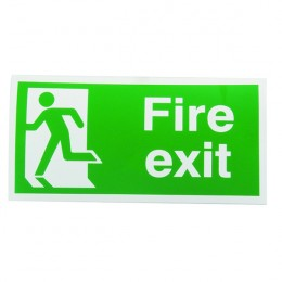 Safety Sign:Fire Exit Left Running Man 150x300mm Self Adhesive