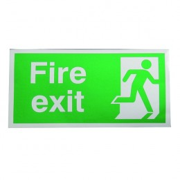 Safety Sign:Fire Exit Right Running Man 150x300mm Self Adhesive