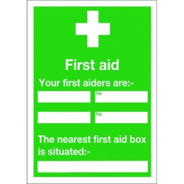 Safety Sign:Your First Aiders Names, Numbers and Nearest First Aid Box 600x450mm Self Adhesive