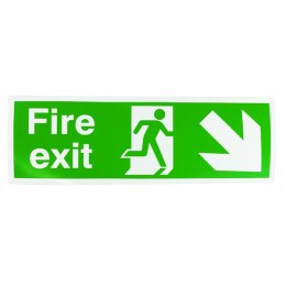 Safety Sign:Fire Exit Right and Down 150x450mm Self Adhesive
