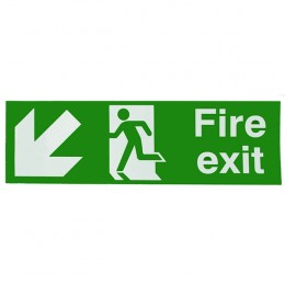 Safety Sign:Fire Exit Left and Down 150x450mm Self Adhesive