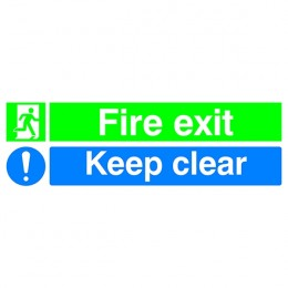 Safety Sign:Fire Exit and Keep Clear 150x450mm PVC