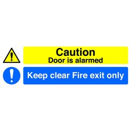 Safety Sign:Fire Exit Only and Door is Alarmed 150x450mm Self Adhesive