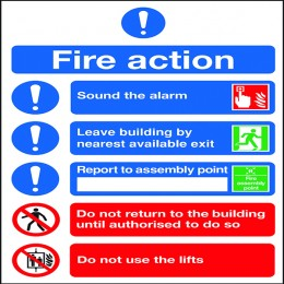 Safety Sign Fire Action Symbols A4 Self Adhesive