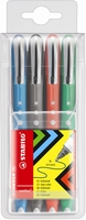 Stabilo Worker Rollerball Pens Assorted [Wallet of 4]