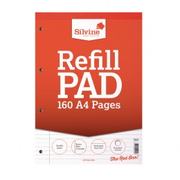 Silvine Refill Pad A4 80 Leaf Ruled and Margin [Pack of 6]