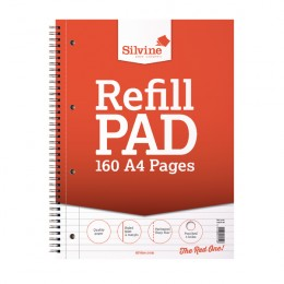 Silvine Refill Pad A4 Wirebound 80 Leaf Ruled and Margin [Pack of 6]